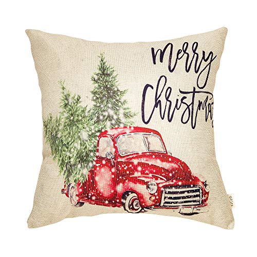 Fjfz Merry Christmas Decor Retro Red Truck With Trees Snowflakes Winter Holiday Sign Farmhouse Decoration Gift Cotton Linen Home Decorative Throw Pillow Case Cushion Cover For Sofa Couch 18 X 18 0