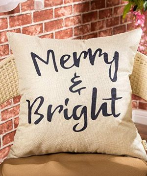 Fjfz Rustic Christmas Sign Dcor Merry And Bright Farmhouse Winter Decoration Gift Cotton Linen Home Decorative Throw Pillow Case Cushion Cover With Words For Sofa Couch 18 X 18 0 0 300x360