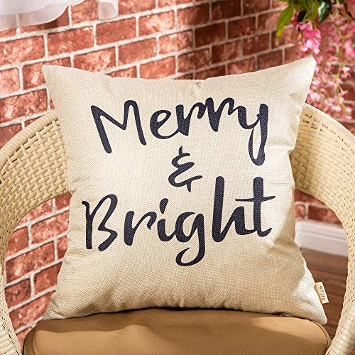 Fjfz Rustic Christmas Sign Dcor Merry And Bright Farmhouse Winter Decoration Gift Cotton Linen Home Decorative Throw Pillow Case Cushion Cover With Words For Sofa Couch 18 X 18 0 0