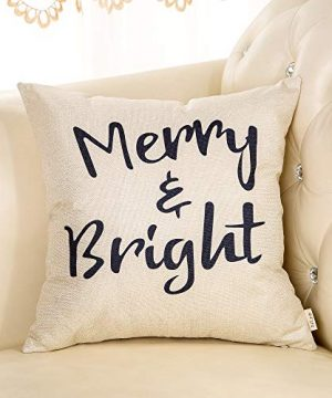 Fjfz Rustic Christmas Sign Dcor Merry And Bright Farmhouse Winter Decoration Gift Cotton Linen Home Decorative Throw Pillow Case Cushion Cover With Words For Sofa Couch 18 X 18 0 1 300x360