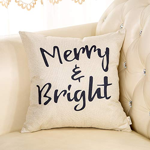 Fjfz Rustic Christmas Sign Dcor Merry And Bright Farmhouse Winter Decoration Gift Cotton Linen Home Decorative Throw Pillow Case Cushion Cover With Words For Sofa Couch 18 X 18 0 1
