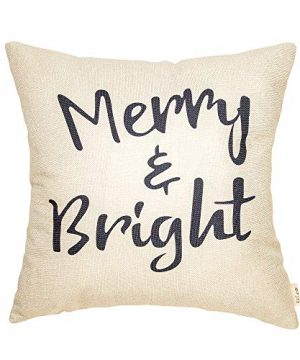 Fjfz Rustic Christmas Sign Dcor Merry And Bright Farmhouse Winter Decoration Gift Cotton Linen Home Decorative Throw Pillow Case Cushion Cover With Words For Sofa Couch 18 X 18 0 300x360