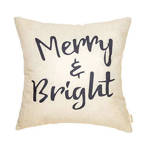 Fjfz Rustic Christmas Sign Dcor Merry And Bright Farmhouse Winter Decoration Gift Cotton Linen Home Decorative Throw Pillow Case Cushion Cover With Words For Sofa Couch 18 X 18 0