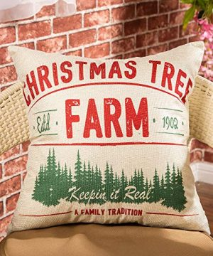 Fjfz Rustic Farmhouse Decor Christmas Tree Keepin In Real A Family Tradition Winter Holiday Sign Decoration Cotton Linen Home Decorative Throw Pillow Case Cushion Cover For Sofa Couch 18 X 18 0 0 300x360