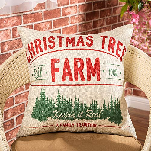 Fjfz Rustic Farmhouse Decor Christmas Tree Keepin In Real A Family Tradition Winter Holiday Sign Decoration Cotton Linen Home Decorative Throw Pillow Case Cushion Cover For Sofa Couch 18 X 18 0 0