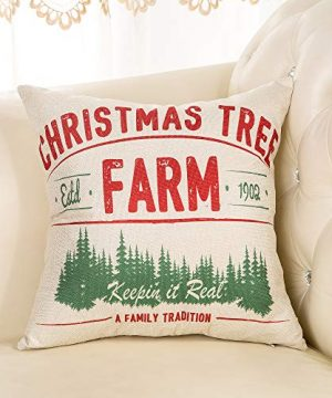 Fjfz Rustic Farmhouse Decor Christmas Tree Keepin In Real A Family Tradition Winter Holiday Sign Decoration Cotton Linen Home Decorative Throw Pillow Case Cushion Cover For Sofa Couch 18 X 18 0 1 300x360
