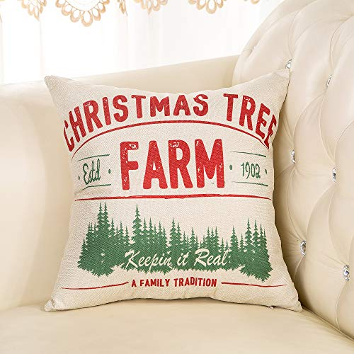 Fjfz Rustic Farmhouse Decor Christmas Tree Keepin In Real A Family Tradition Winter Holiday Sign Decoration Cotton Linen Home Decorative Throw Pillow Case Cushion Cover For Sofa Couch 18 X 18 0 1