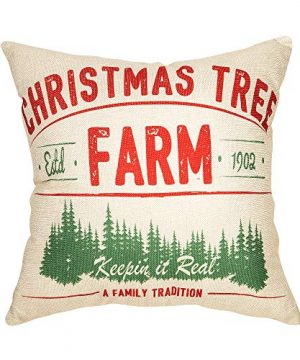 Fjfz Rustic Farmhouse Decor Christmas Tree Keepin In Real A Family Tradition Winter Holiday Sign Decoration Cotton Linen Home Decorative Throw Pillow Case Cushion Cover For Sofa Couch 18 X 18 0 300x360