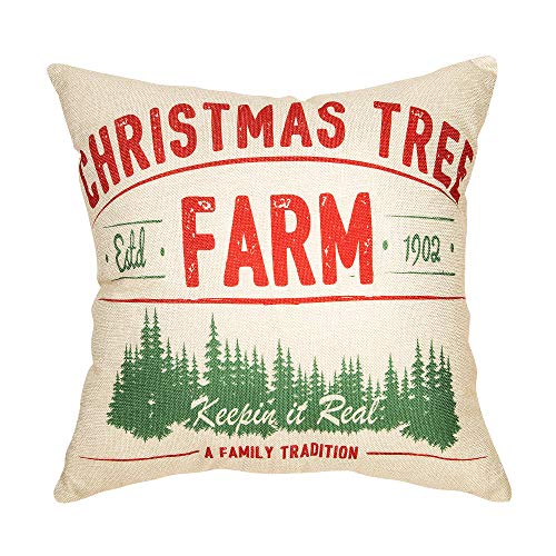 Fjfz Rustic Farmhouse Decor Christmas Tree Keepin In Real A Family Tradition Winter Holiday Sign Decoration Cotton Linen Home Decorative Throw Pillow Case Cushion Cover For Sofa Couch 18 X 18 0