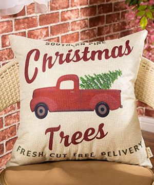 Fjfz Rustic Holiday Farmhouse Dcor Red Truck Southern Pine Christmas Trees Fresh Cut Winter Decoration Cotton Linen Home Decorative Throw Pillow Case Cushion Cover For Sofa Couch 18 X 18 0 0 300x360