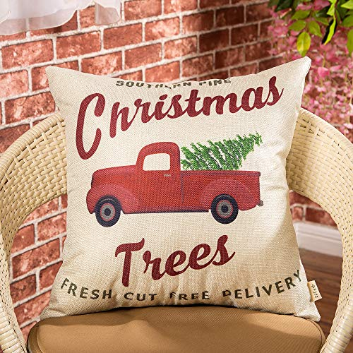 Fjfz Rustic Holiday Farmhouse Dcor Red Truck Southern Pine Christmas Trees Fresh Cut Winter Decoration Cotton Linen Home Decorative Throw Pillow Case Cushion Cover For Sofa Couch 18 X 18 0 0