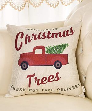 Fjfz Rustic Holiday Farmhouse Dcor Red Truck Southern Pine Christmas Trees Fresh Cut Winter Decoration Cotton Linen Home Decorative Throw Pillow Case Cushion Cover For Sofa Couch 18 X 18 0 1 300x360