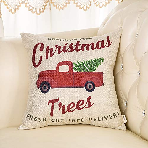 Fjfz Rustic Holiday Farmhouse Dcor Red Truck Southern Pine Christmas Trees Fresh Cut Winter Decoration Cotton Linen Home Decorative Throw Pillow Case Cushion Cover For Sofa Couch 18 X 18 0 1