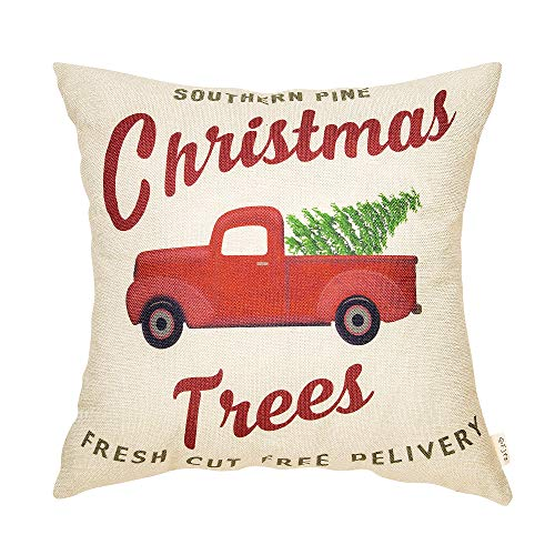 Fjfz Rustic Holiday Farmhouse Dcor Red Truck Southern Pine Christmas Trees Fresh Cut Winter Decoration Cotton Linen Home Decorative Throw Pillow Case Cushion Cover For Sofa Couch 18 X 18 0
