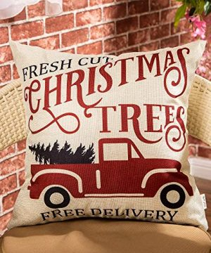 Fjfz Rustic Winter Decoration Fresh Cut Christmas Trees Vintage Red Truck Retro Farmhouse Decor Cotton Linen Home Decorative Throw Pillow Case Cushion Cover For Sofa Couch 18 X 18 0 0 300x360