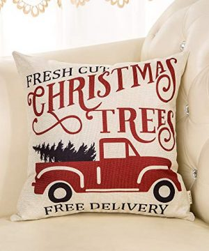 Fjfz Rustic Winter Decoration Fresh Cut Christmas Trees Vintage Red Truck Retro Farmhouse Decor Cotton Linen Home Decorative Throw Pillow Case Cushion Cover For Sofa Couch 18 X 18 0 1 300x360