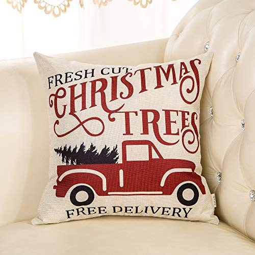 Fjfz Rustic Winter Decoration Fresh Cut Christmas Trees Vintage Red Truck Retro Farmhouse Decor Cotton Linen Home Decorative Throw Pillow Case Cushion Cover For Sofa Couch 18 X 18 0 1
