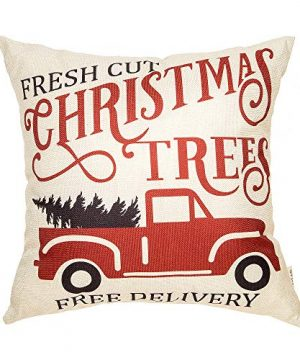 Fjfz Rustic Winter Decoration Fresh Cut Christmas Trees Vintage Red Truck Retro Farmhouse Decor Cotton Linen Home Decorative Throw Pillow Case Cushion Cover For Sofa Couch 18 X 18 0 300x360