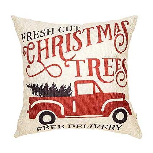 Fjfz Rustic Winter Decoration Fresh Cut Christmas Trees Vintage Red Truck Retro Farmhouse Decor Cotton Linen Home Decorative Throw Pillow Case Cushion Cover For Sofa Couch 18 X 18 0
