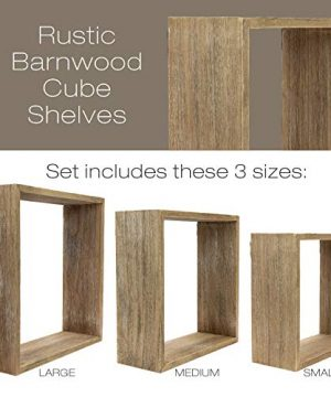 Floating Rustic Wall Shelves Set Of 3 Nested Barnwood Cube Shelves Wall Mounted Storage Bookshelf Is Perfect For Home Dcor For The Living Room Bedroom Office Kitchen Or Bathroom Set Of 3 0 0 300x360