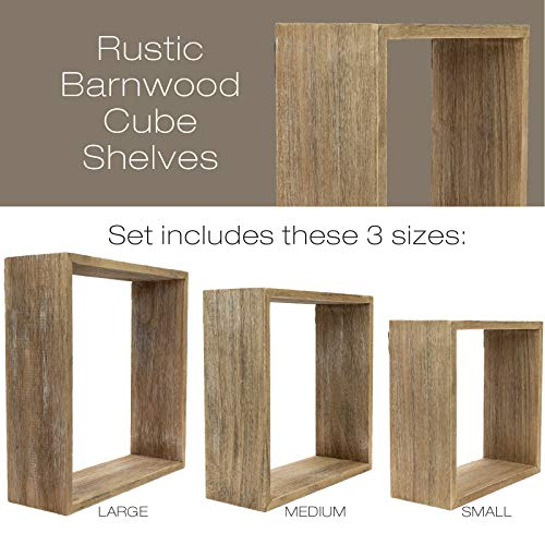 Floating Rustic Wall Shelves Set Of 3 Nested Barnwood Cube Shelves Wall Mounted Storage Bookshelf Is Perfect For Home Dcor For The Living Room Bedroom Office Kitchen Or Bathroom Set Of 3 0 0