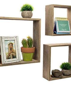 Floating Rustic Wall Shelves Set Of 3 Nested Barnwood Cube Shelves Wall Mounted Storage Bookshelf Is Perfect For Home Dcor For The Living Room Bedroom Office Kitchen Or Bathroom Set Of 3 0 300x360