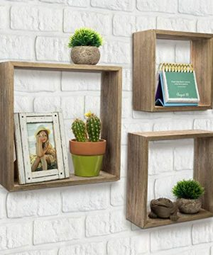 Floating Rustic Wall Shelves Set Of 3 Nested Barnwood Cube Shelves Wall Mounted Storage Bookshelf Is Perfect For Home Dcor For The Living Room Bedroom Office Kitchen Or Bathroom Set Of 3 0 4 300x360