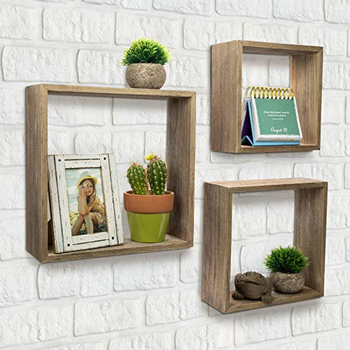 Floating Rustic Wall Shelves Set Of 3 Nested Barnwood Cube Shelves Wall Mounted Storage Bookshelf Is Perfect For Home Dcor For The Living Room Bedroom Office Kitchen Or Bathroom Set Of 3 0 4