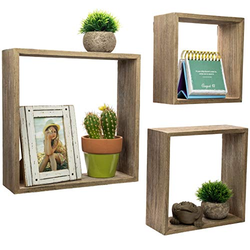 Floating Rustic Wall Shelves Set Of 3 Nested Barnwood Cube Shelves Wall Mounted Storage Bookshelf Is Perfect For Home Dcor For The Living Room Bedroom Office Kitchen Or Bathroom Set Of 3 0