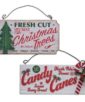 Fresh Cut Christmas Trees North Pole Candy Canes Set Of 2 Wood Hanging Signs Country Rustic Distressed Christmas Sign Ornament 0 300x360