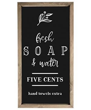 Fresh-Soap-and-Water-Framed-Rustic-Wood-Farmhouse-Wall-Sign-9x18-0