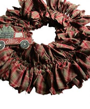 From The Attic Crafts Red Truck And Christmas Tree Rag Wreath 0 0 300x360