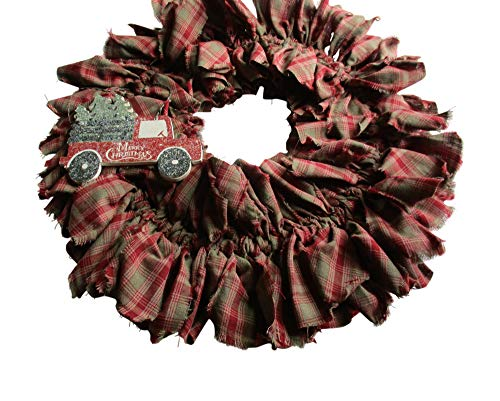 From The Attic Crafts Red Truck And Christmas Tree Rag Wreath 0 0