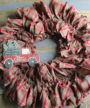 From The Attic Crafts Red Truck And Christmas Tree Rag Wreath 0 1 300x360