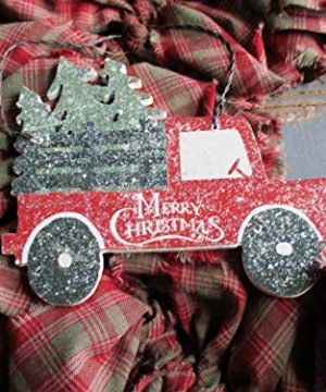 From The Attic Crafts Red Truck And Christmas Tree Rag Wreath 0 2 300x360