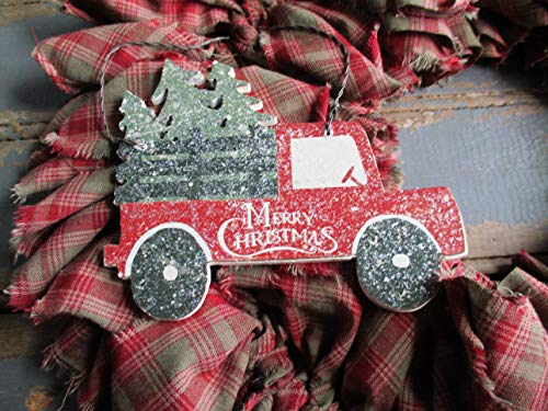 From The Attic Crafts Red Truck And Christmas Tree Rag Wreath 0 2