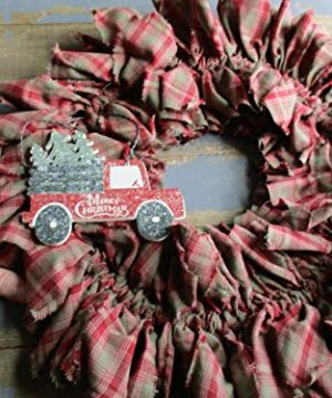From The Attic Crafts Red Truck And Christmas Tree Rag Wreath 0 3 300x360