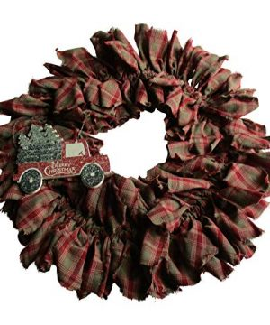 From The Attic Crafts Red Truck And Christmas Tree Rag Wreath 0 300x360