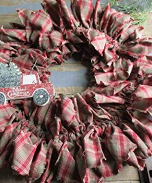 From The Attic Crafts Red Truck And Christmas Tree Rag Wreath 0 4 300x360