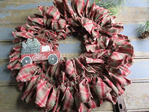 From The Attic Crafts Red Truck And Christmas Tree Rag Wreath 0 4