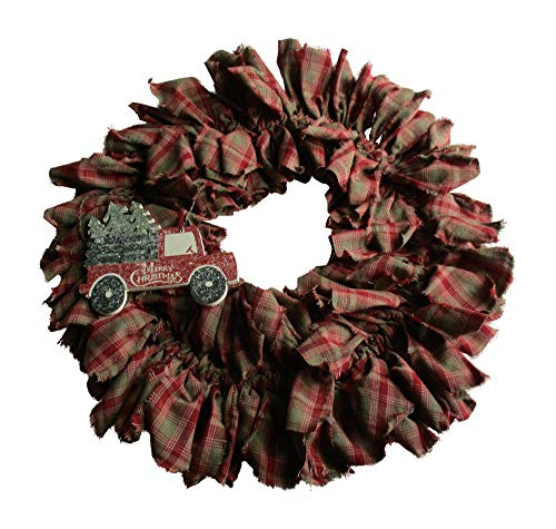 From The Attic Crafts Red Truck And Christmas Tree Rag Wreath 0