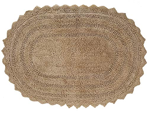 Front Door Mat Rugs Crochet Oval Shape Shaggy Beige Bath Rug For Bathroom Cotton Mats 17 X 24 Inch Beige Farmhouse Goals