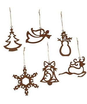 Fun Express Metal Laser Cut Rustic Ornaments Set Of 12 Assorted 0 300x360