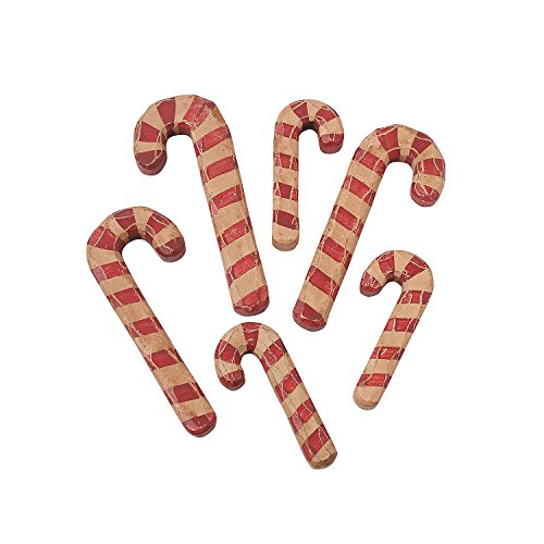 Fun Express Wood Carved Candy Canes For Christmas Home Decor Ornaments Traditional Christmas 6 Pieces 0