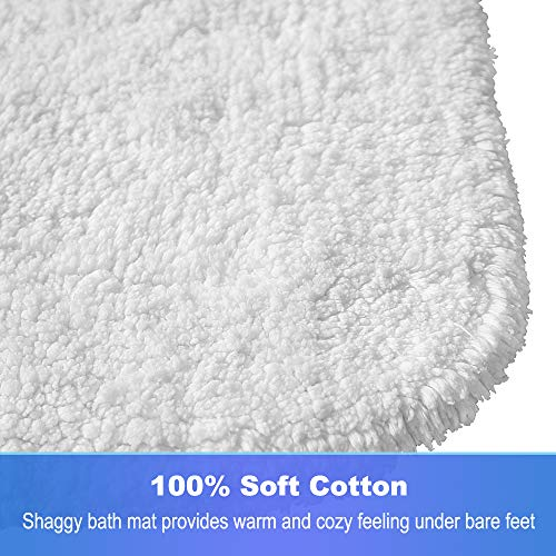 GECOUN Bath Rug Mats Absorbent Non Slip Cotton Backing Bathroom Rugs Extra Soft Machine WashableDry 315 X 20 Luxury White 0 0