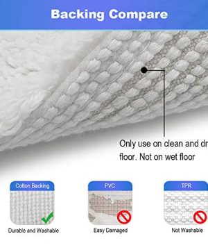 GECOUN Bath Rug Mats Absorbent Non Slip Cotton Backing Bathroom Rugs Extra Soft Machine WashableDry 315 X 20 Luxury White 0 1 300x360