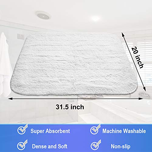 GECOUN Bath Rug Mats Absorbent Non Slip Cotton Backing Bathroom Rugs Extra Soft Machine WashableDry 315 X 20 Luxury White 0 4