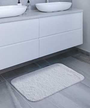 GECOUN Bath Rug Mats Absorbent Non Slip Cotton Backing Bathroom Rugs Extra Soft Machine WashableDry 315 X 20 Luxury White 0 5 300x360