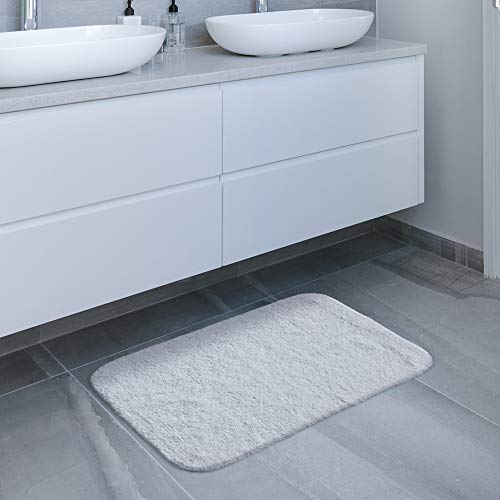 GECOUN Bath Rug Mats Absorbent Non Slip Cotton Backing Bathroom Rugs Extra Soft Machine WashableDry 315 X 20 Luxury White 0 5
