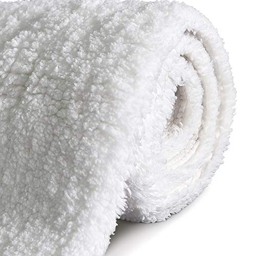 GECOUN Bath Rug Mats Absorbent Non Slip Cotton Backing Bathroom Rugs Extra Soft Machine WashableDry 315 X 20 Luxury White 0